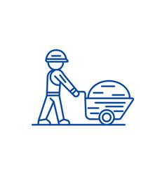 worker builder with wheelbarrow line icon concept vector image