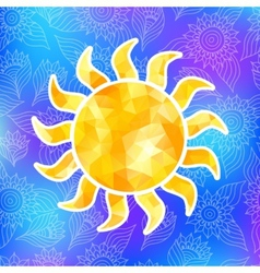 Yellow sun label of triangles vector image
