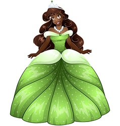 African Princess In Green Dress vector image vector image