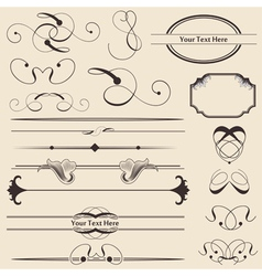 calligraphic page decorations vector image