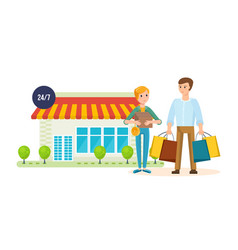 couple after shopping at mall on city street vector image