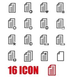 grey documents icon set vector image