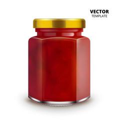 jam jar glass mockup isolated vector image vector image