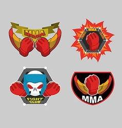 MMA emblem set Mix fight club logo vector image vector image