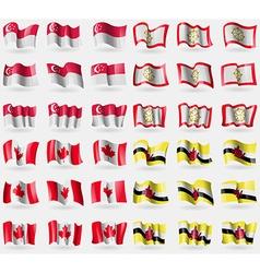 Singapore Sikkim Canada Brunei Set of 36 flags of vector image