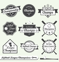 Softball Champs Labels vector image vector image