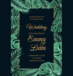 wedding invitation template tropical leaves dark vector image vector image