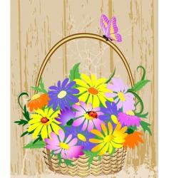 basket of flowers vector image