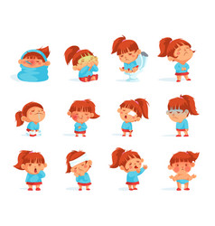 Cartoon collection of sick child figurines vector