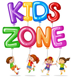 kids zone with happy kids and balloons vector image vector image