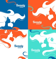 Set of beautiful fashion woman silhouettes vector image vector image