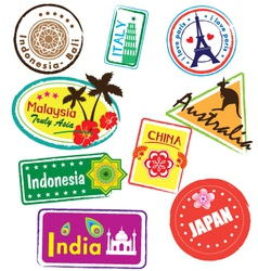 travel stickers vector image