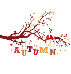 autumn tree branch with birds vector image vector image