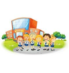 Children in school uniform at school vector image vector image