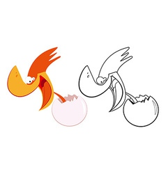 Funny bird and egg vector image