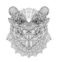 hand-drawn bear portrait panda head vector image