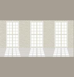 Loft studio interior big windows white brick vector