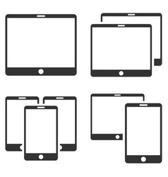 mobile device flat icon set vector image