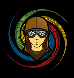 Pilot face with sunglasses graphic vector