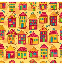 Seamless pattern colorful houses vector image