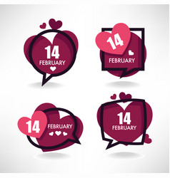 14 february collection of hearts and love logo vector image