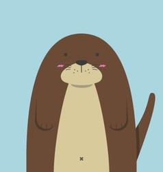 Cute big fat otter vector