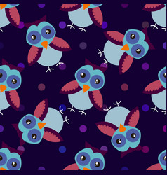 cute cartoon seamless pattern with dots and owls vector image