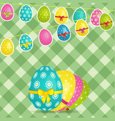 easter egg bunting over crossed stripes background vector image vector image