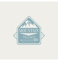 Mountain Skiing Emblem Design vector image