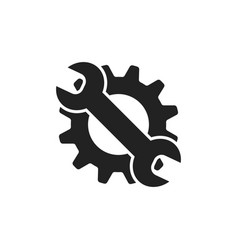 Service tools flat icon cogwheel with wrench vector
