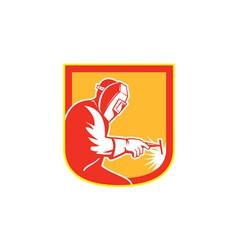 Welder Holding Welding Torch Shield Retro vector image vector image