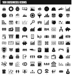 100 business icon set simple style vector image