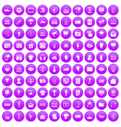 100 tv icons set purple vector