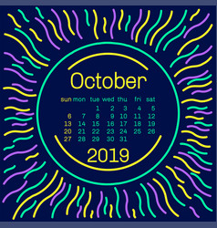 2019 october calendar page in memphis style vector image