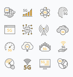 5g network flat line icon set vector image