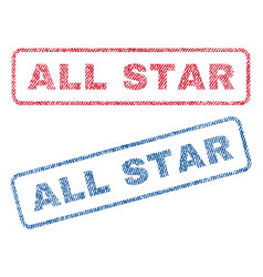 All star textile stamps vector