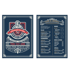 antique template for restaurant menu design with vector image