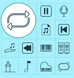 audio icons set with piano repeat loudspeakers vector image
