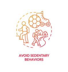 Avoid sedentary behaviors concept icon vector