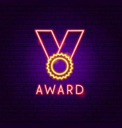 award neon label vector image