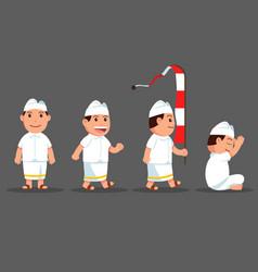 Bali boy cute cartoon character set vector