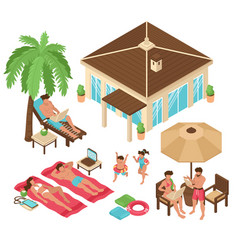 beach relax isometric collection vector image