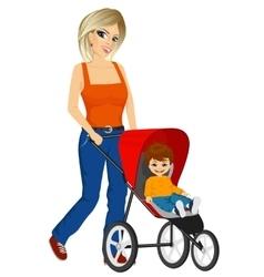 Beautiful single mather pushing stroller vector