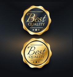best quality golden label design vector image
