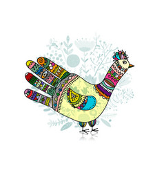Bird shape made from hand palm and fingers ornate vector