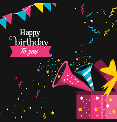 Birthday trumpet with gift vector