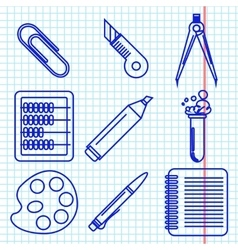 Black school goods icons Part 2 vector image