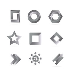 Black white grey logo elements set vector image
