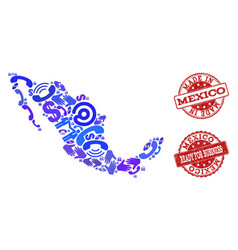 Business contacts collage of mosaic map of mexico vector