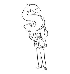 businessman holding big dollar sign over his head vector image